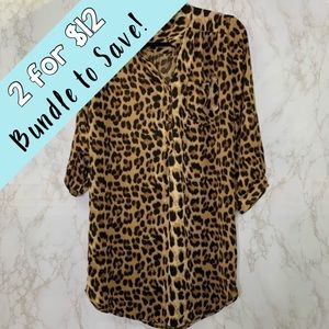 XTAREN Sheer Leopard Animal print Tunic Dress Top
